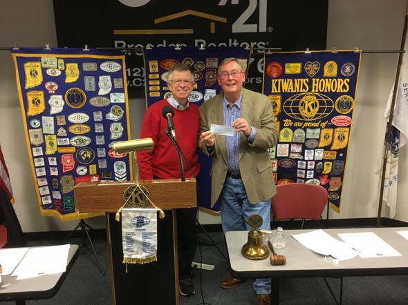 Richard Brinkman Receives a Hillside Donation from Kiwanis Club